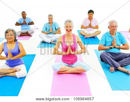Senior Adult Relaxation Activity Meditation Yoga Concept