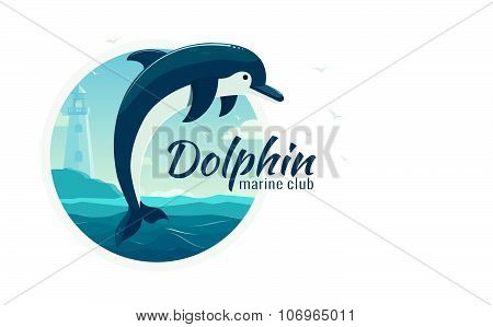 One jumping dolphin, blue sea background with waves and lighthouse. Vector Illustration, banner, ico