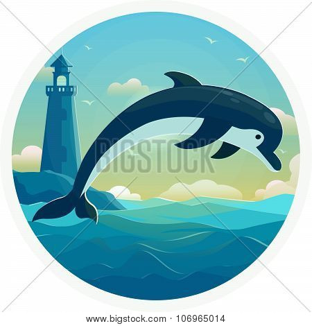 One jumping dolphin, blue sea background with waves . Vector Illustration, banner, icon.