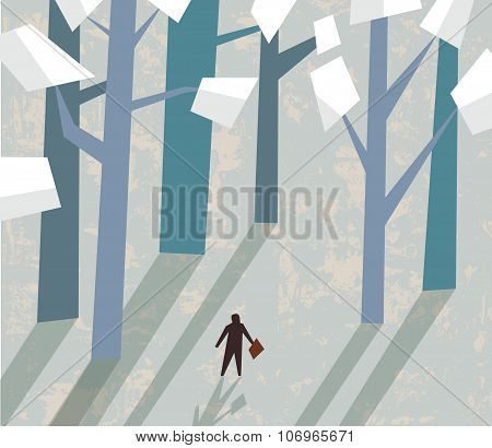Forest of documents and small businessman