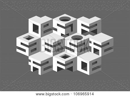 Architectural Abstraction Of Cubic Elements.
