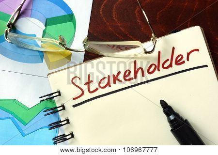 Notepad with  Stakeholder.