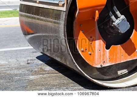 Detail Of Steamroller During Road Construction