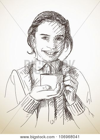 Sketch of teenage girl holding tea cup, Hand drawn illustration