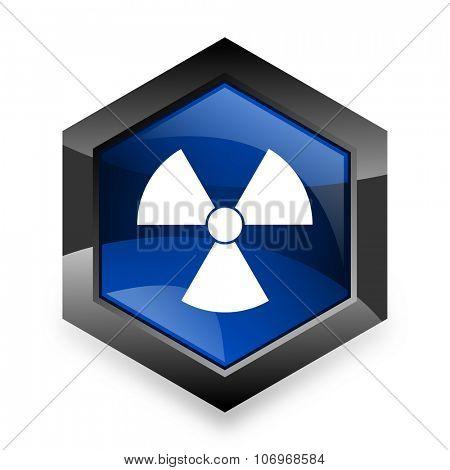 radiation blue hexagon 3d modern design icon on white background