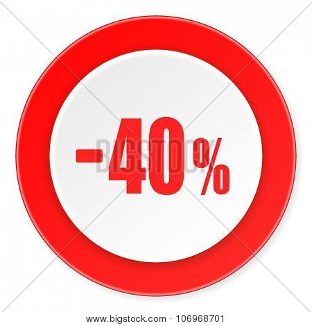 40 percent sale retail red circle 3d modern design flat icon on white background