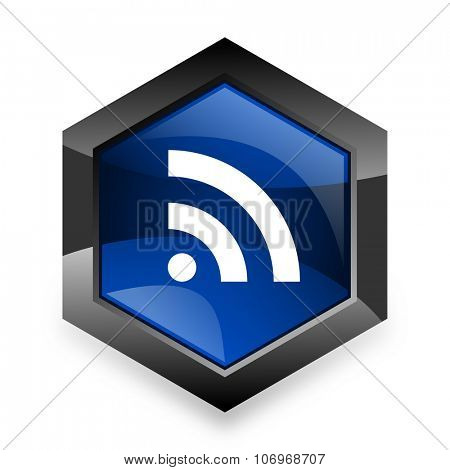 rss blue hexagon 3d modern design icon on white background