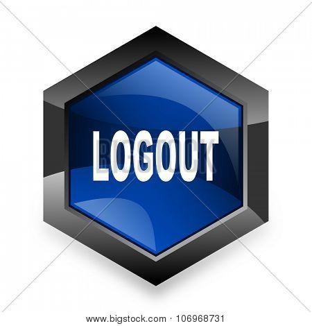 logout blue hexagon 3d modern design icon on white background