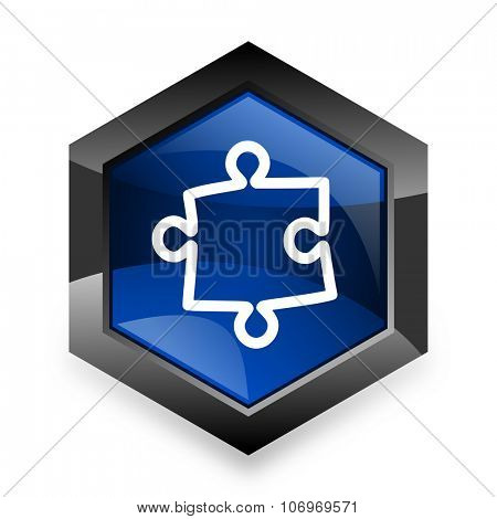 puzzle blue hexagon 3d modern design icon on white background