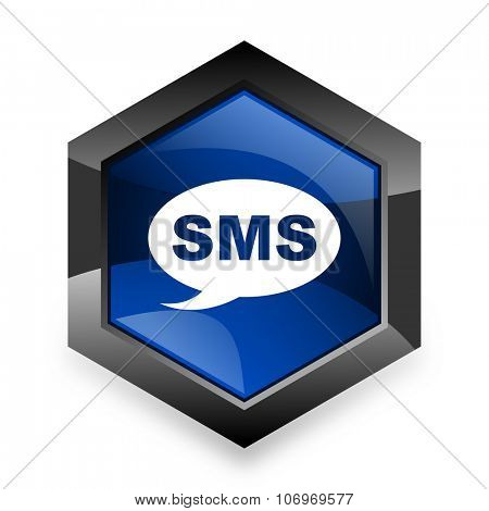 sms blue hexagon 3d modern design icon on white background