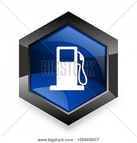 petrol blue hexagon 3d modern design icon on white background