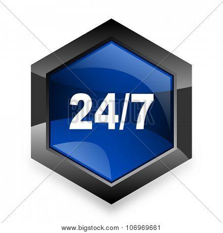 24/7 blue hexagon 3d modern design icon on white background