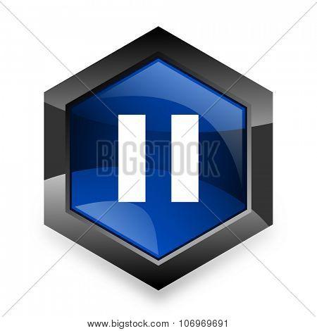 pause blue hexagon 3d modern design icon on white background
