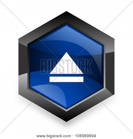 eject blue hexagon 3d modern design icon on white background