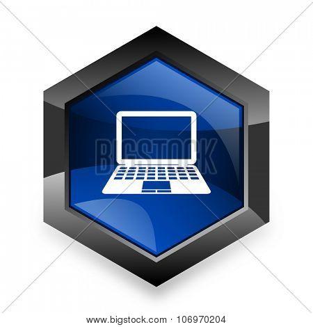 computer blue hexagon 3d modern design icon on white background