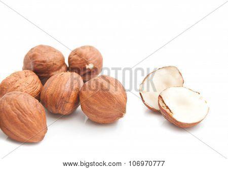 Some Tasty Hazelnuts On White