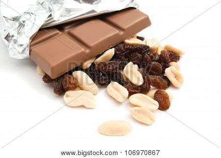 Peanuts, Chocolate Bar And Raisins