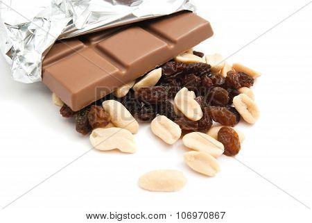 Peanuts, Chocolate Bar And Raisins