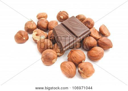 Some Hazelnuts And Chocolate