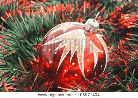 Red Christmas Tree Ornament And Tinsel