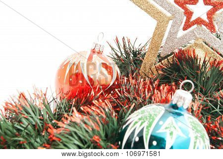 Pair Of Christmas Tree Ornaments, Star And Tinsel