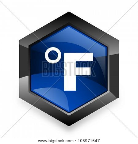 fahrenheit blue hexagon 3d modern design icon on white background