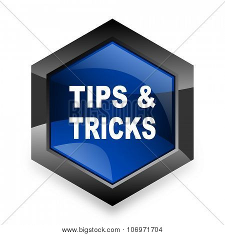 tips tricks blue hexagon 3d modern design icon on white background