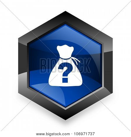 riddle blue hexagon 3d modern design icon on white background
