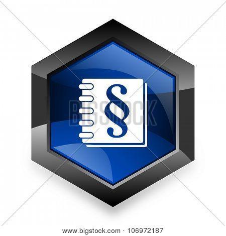 law blue hexagon 3d modern design icon on white background
