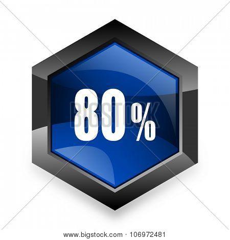 80 percent blue hexagon 3d modern design icon on white background