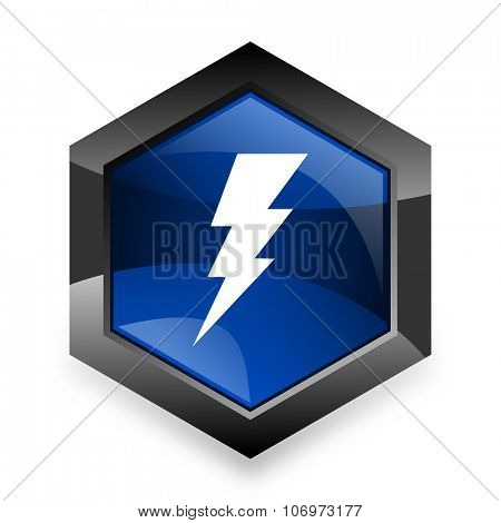 bolt blue hexagon 3d modern design icon on white background