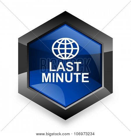 last minute blue hexagon 3d modern design icon on white background