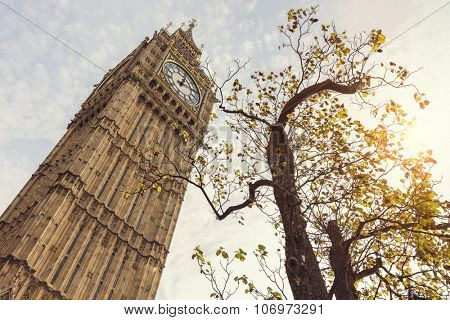 Big Ben in London UK low angle in autumn sunshine