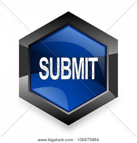 submit blue hexagon 3d modern design icon on white background