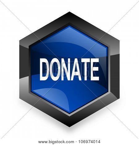 donate blue hexagon 3d modern design icon on white background