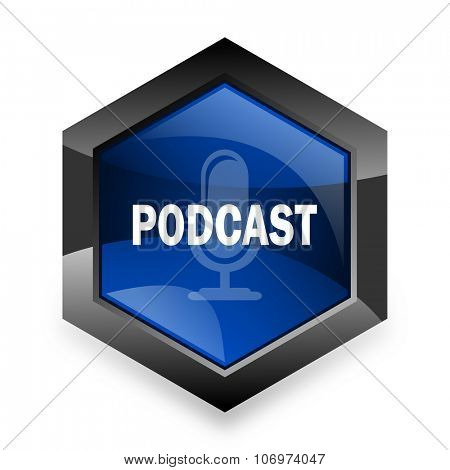 podcast blue hexagon 3d modern design icon on white background