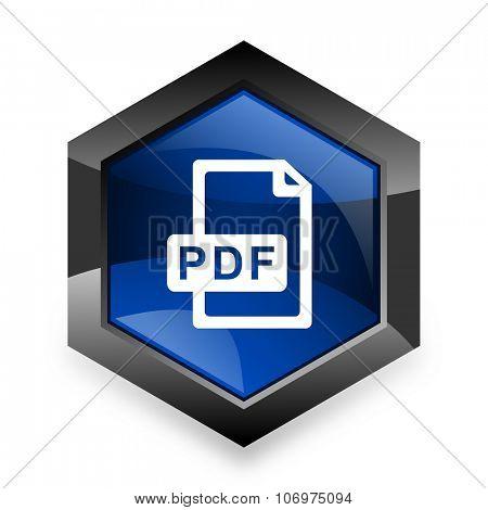 pdf file blue hexagon 3d modern design icon on white background