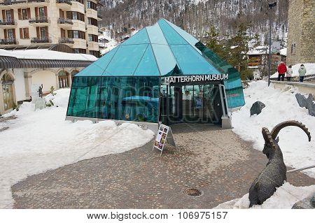 Exterior of the Matterhorn museum entrance in Zermatt, Switzerland.
