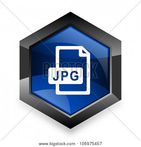 jpg file blue hexagon 3d modern design icon on white background