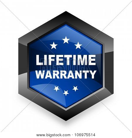 lifetime warranty blue hexagon 3d modern design icon on white background