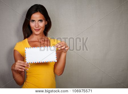 Charismatic Lady Holding Letter While Standing
