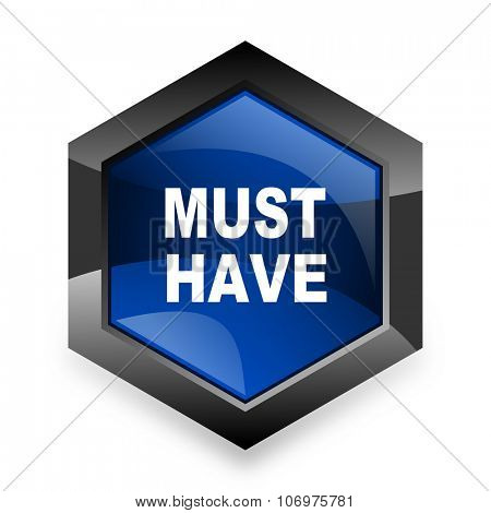 must have blue hexagon 3d modern design icon on white background