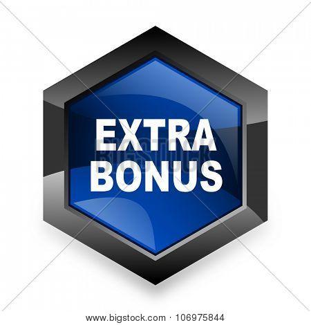 extra bonus blue hexagon 3d modern design icon on white background