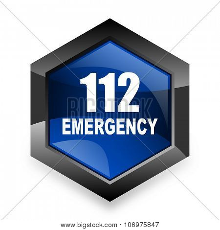 number emergency 112 blue hexagon 3d modern design icon on white background