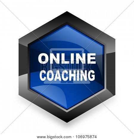 online coaching blue hexagon 3d modern design icon on white background