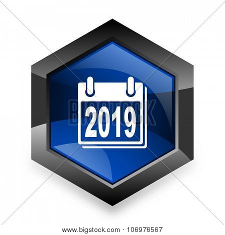 new year 2019 blue hexagon 3d modern design icon on white background