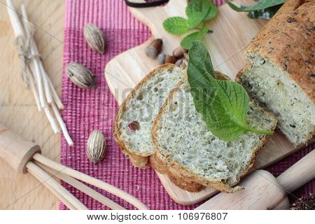 Spinach Bread And Fresh Spinach With Making Baker.