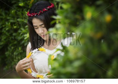 Girl with yellow flower hairband