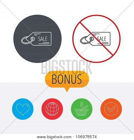 Sale shopping tag icon. Discount label sign.