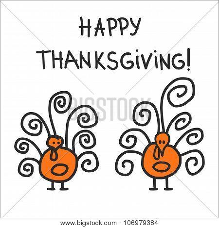 Two hand drawn symbolic turkeys